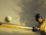 Baseball Player Swinging a Bat Lámina fotográfica