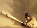 Low Angle View of a Baseball Player Swinging a Baseball Bat Photographic Print