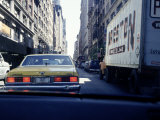 Yellow Taxi in Traffic, NYC, NY Fotografisk tryk af Chris Minerva