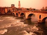 Ponte Di Pietra Over the Adige River, Verona, Italy Fotografisk tryk af John Elk III