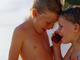 Children Talking on Mobile Phone, Cook Islands Photographic Print by Philip & Karen Smith