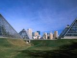 Muttart Conservatory with City Skyline in Distance, Edmonton, Alberta, Canada Photographic Print by Stephen Saks