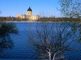 Legislative Building and Wascana Lake After Late Spring Snowfall, Regina, Saskatchewan, Canada Photographic Print by Stephen Saks