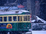 Tram in Snow on Alaskan Way, Seattle, Washington, USA Photographic Print by Lawrence Worcester