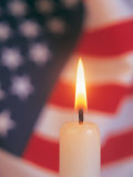Candle with USA Flag Behind Fotografisk tryk af Terry Why