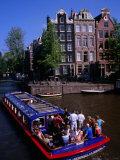 Canal Sightseeing Boat, Amsterdam, Netherlands Photographic Print by Wayne Walton