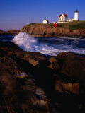 Surf Crashing on York Beach with Nubble Lighthouse in Background, Cape Neddick, USA Photographic Print by Levesque Kevin