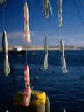 Fishing Lures Hanging with Ocean Behind, Cape Cod, Massachusetts, USA Photographic Print by Stephen Saks