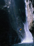 Man Canyoning in Waterfall, Nepal Reproduction photographique par Anders Blomqvist