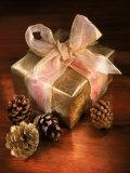 Christmas Gift with Gold Ribbon and Pinecones Fotografisk trykk av Ellen Kamp