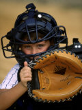 Portrait of a Boy Holding a Baseball Glove Photographic Print