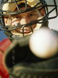 Close-up of a Catcher Catching a Baseball Photographic Print