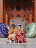 Girls Dressed in Kimono, Shichi-Go-San Festival (Festival for Three, Five, Seven Year Old Children) Lámina fotográfica