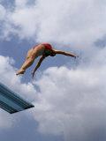 Female Diver in Pink Bathing Suit Lámina fotográfica