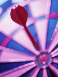 Close-up of a Dart in the Bull's-Eye of a Dartboard Lámina fotográfica