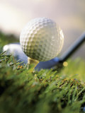 Golf Ball on Wooden Tee with Driver in Background Fotografisk trykk av Eric Kamp