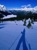 Shadow of a Cross Country Skier on Snow, Banff, Canada Lámina fotográfica por Philip Smith