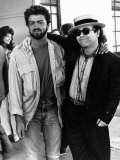 Elton John with George Michael of Wham Pop Group 1985, at Live Aid Concert Reproduction photographique