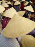 A Crowd of People in Conical Straw Hats at a Wet Market in Hoi An Photographic Print