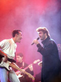 George Michael on Stage at an Aids Concert at Wembley Arena, with His Fellow Member of Band Wham Reproduction photographique