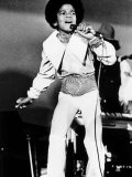 Michael Jackson Singing on Stage in His Home Town Reproduction photographique