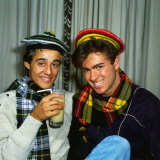 George Michael and Andrew Ridgeley of Pop Group Wham, February 1986 Reproduction photographique