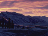 Trans-Alaska Pipeline and Brooks Range at Dawn Photographic Print by George Herben