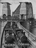 Testing Sydney Harbour Bridge by Driving Four Locomotives on Each of the Two Railway Tracks Fotografie-Druck