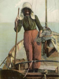 Parqueuse d'Huitres, Oyster Gatherer, of Arcachon in South- West France Fotografie-Druck