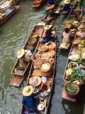 Vendors, Waterways and Floating Market, Damnern Saduak, Thailand Photographic Print by Bill Bachmann