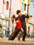 Tango Dancers on Caminito Avenue, La Boca District, Buenos Aires, Argentina Stretched Canvas Print by Stuart Westmoreland