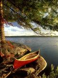 Cedar Canvas Canoe, Canada Fotoprint van David Cayless