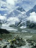 Mount Everest and Khumbu Icefall and Glacier, Nepal Fotografie-Druck von Paul Franklin