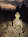 Statue of Buddha, Borobudur, Java Island, Borobudur, Java Island, Indonesia Fotografisk tryk af Paul Chesley