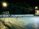 Soccer field Lit Up at Night, Rio de Janeiro, Brazil Fotografie-Druck