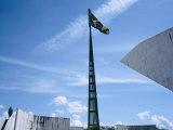 Brazilian Flag Fluttering, National Congress Building, Brasilia, Brazil Photographic Print