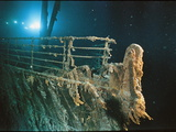 """Bow Railing of R.M.S. """"Titanic"""" Illuminated by Mir 1 Submersible Behind the for Ward Anchor Crane Photographic Print by Emory Kristof"""