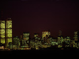 Night View of the Skyline of Lower Manhattan Fotografisk tryk af Paul Chesley