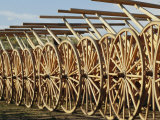 Handcarts Lined up at the Mormon Handcart Center Lámina fotográfica por Michael S. Lewis