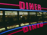 A Neon Diner Sign Relects off a Car Roof Fotografisk trykk av Stephen St. John