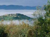 A Village on a Hilltop in Umbria Peaks out over the Surrounding Mist Photographic Print by Tino Soriano