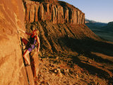 A Woman Rock-Climbing at Indian Creek Photographic Print by Bill Hatcher