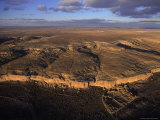Aerial View of Chaco Canyon and Ruins of Ancient Pueblo Dwellings Photographic Print by Ira Block