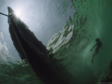 Underwater View of Diving Moken Child and Boat Photographic Print by Nicolas Reynard