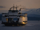 Early Morning Ferry Leaves Seattle, Washington for Bainbridge Island Photographic Print by Phil Schermeister