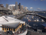 Bell Street Pier and Harbor on Elliott Bay, Seattle, Washington, USA Photographic Print by Connie Ricca