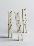 Three Old-Fashioned Wooden Clothes Pegs Photographic Print