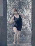 Girl in a One-Piece Bathing Dress Fotografisk trykk