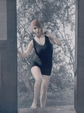 Girl in a One-Piece Bathing Dress Fotografie-Druck