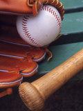Still Life of Baseball Glove, Ball, and Bat Fotografisk trykk av Mark Polott